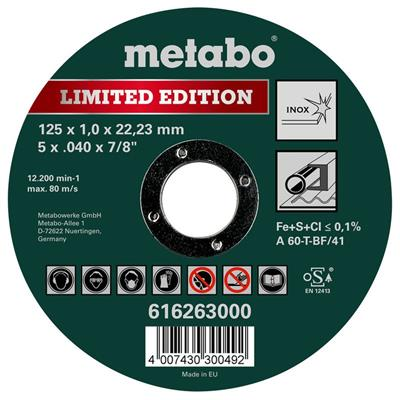 Metabo 616263000 Limited Edition 125 x 1.0 x 22.23 Inox, TF 41 Stainless Steel Cutting Disc