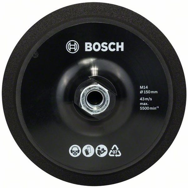 bosch 2608612027 150mm velcro rubber backing pad m14. Black Bedroom Furniture Sets. Home Design Ideas